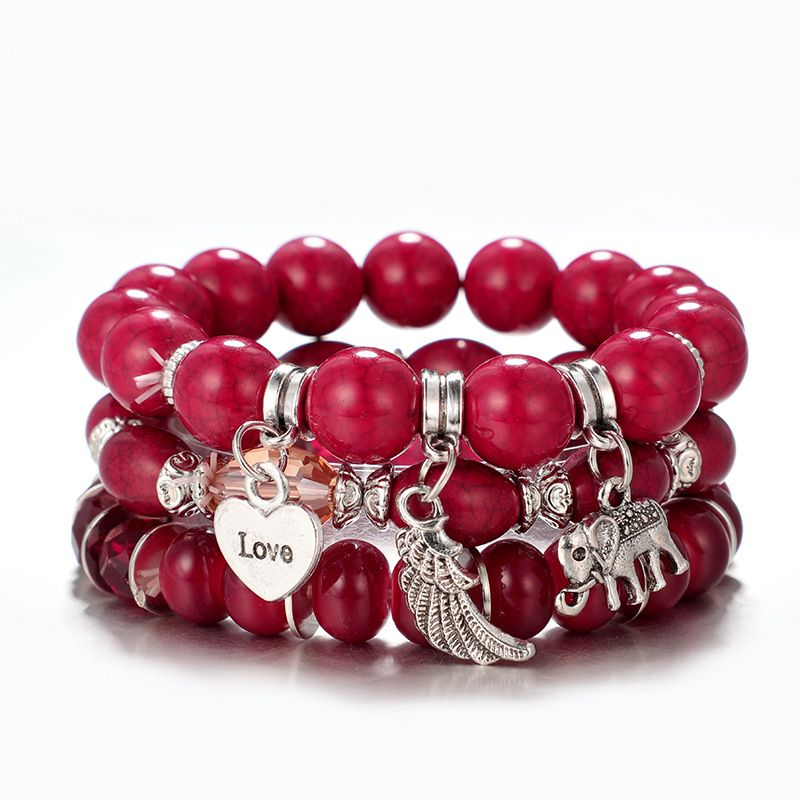 Alloy Simple Geometric bracelet  (red) NHGY2845-red