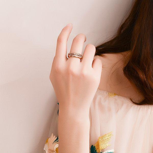 Titanium&Stainless Steel Korea Geometric Ring  (4.5mm wide rose alloy-6) NHOK0470-4.5mm-wide-rose-alloy-6