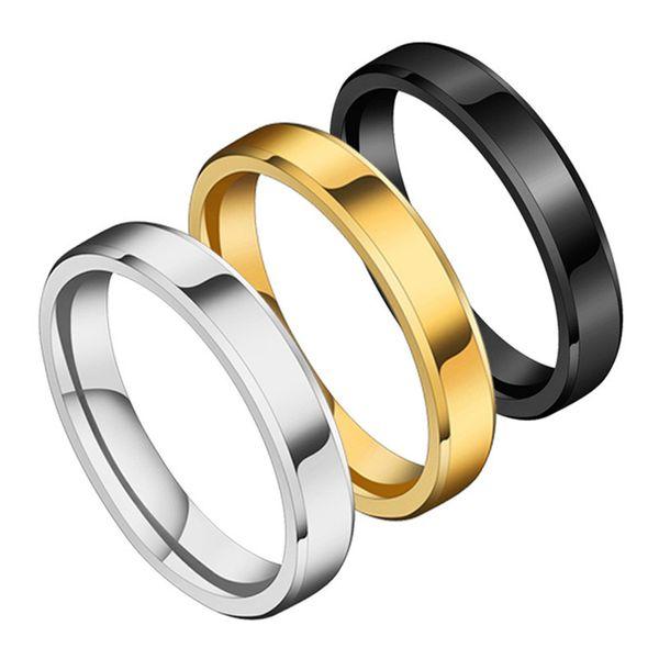 Titanium&Stainless Steel Simple Geometric Ring  (Black-5) NHHF1239-Black-5