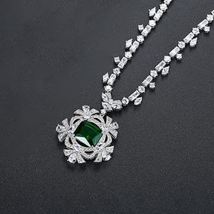 Alloy Korea Flowers necklace  (Green-T11H02) NHTM0604-Green-T11H02's discount tags
