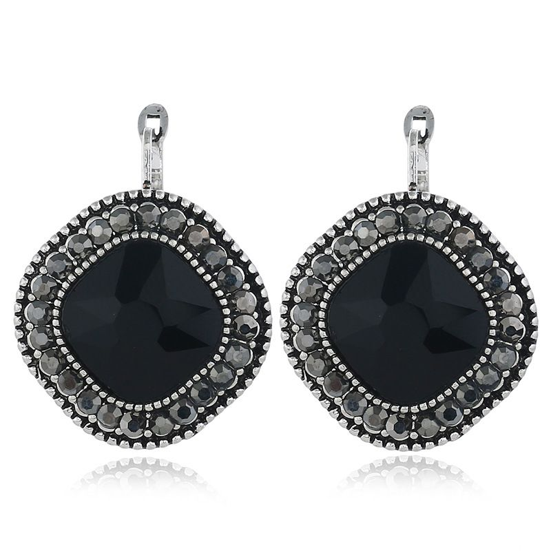 Alloy Fashion Geometric earring  (Black ancient alloy) NHKQ2203-Black-ancient-alloy