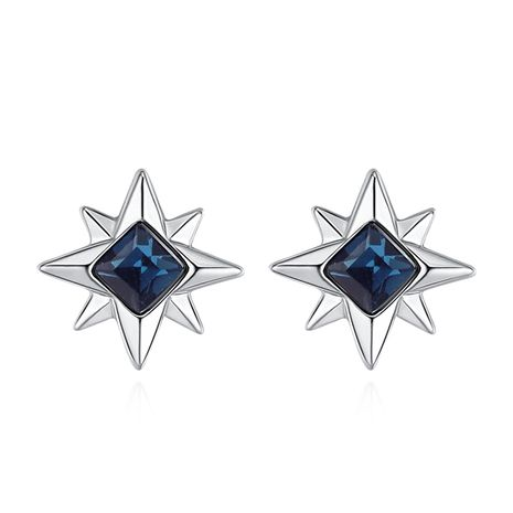 Austrian Imitated crystal S925 Alloy Needle Earrings - Romantic Aroma (Ink Blue) NHKSE29917's discount tags