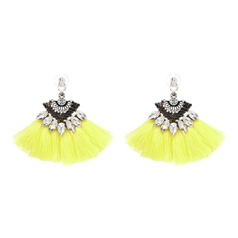 Alloy Bohemia Flowers earring  yellow NHJJ4021yellow