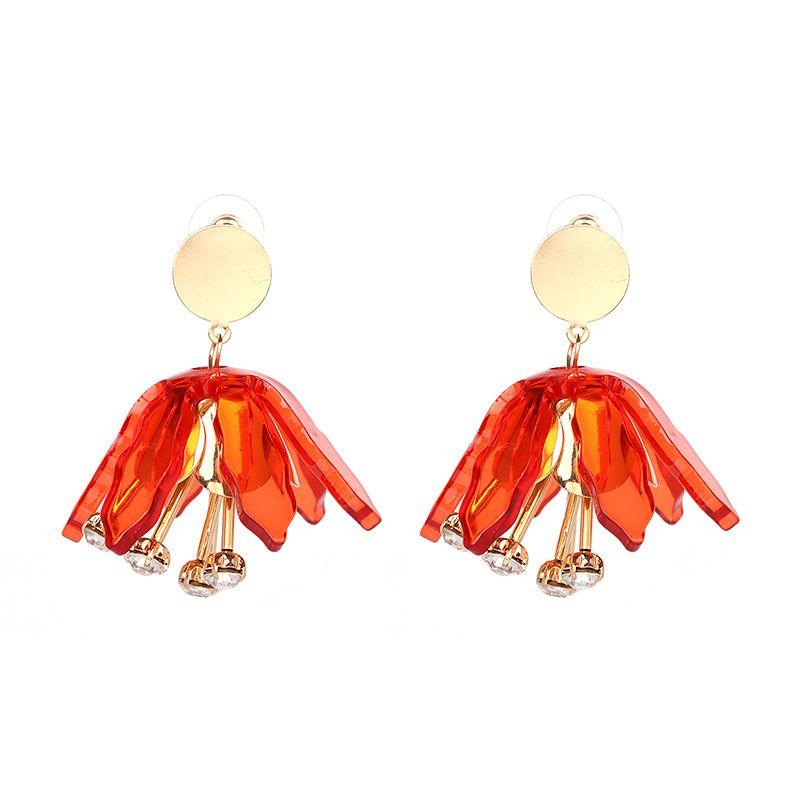 Plastic Fashion Flowers earring  (red) NHJJ4050-red