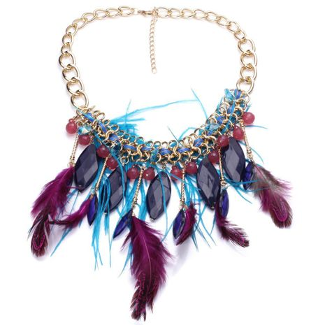 Alloy Fashion Geometric necklace  (purple) NHJJ4072-purple's discount tags