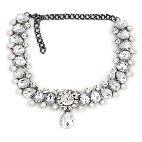 Imitated crystal&CZ Fashion Geometric necklace  (white) NHJJ4073-white's discount tags