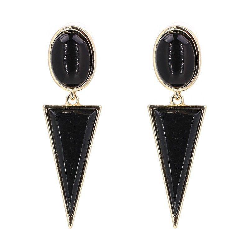 Boucle d39oreille gomtrique Fashion en alliage noir NHJJ4498noir
