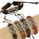 Leather Korea Geometric bracelet  Fourcolor ropes are made NHPK1845Fourcolor ropes are made