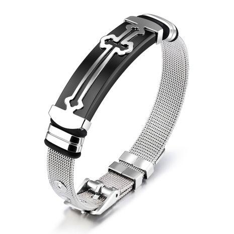 Titanium&Stainless Steel Korea Geometric bracelet  (Between black models) NHOP2001-Between black models's discount tags