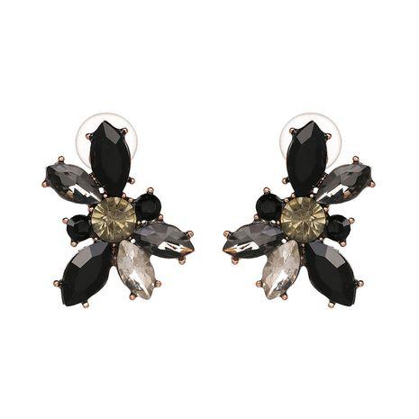 Imitated crystal&CZ Fashion Flowers earring  (black) NHJJ3989-black's discount tags