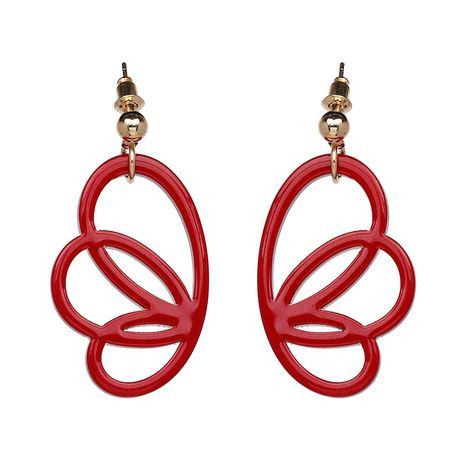 Plastic Simple Geometric earring  (red) NHJJ3997-red's discount tags