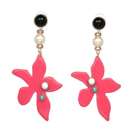 Plastic Korea Flowers earring  (red) NHJJ4005-red's discount tags