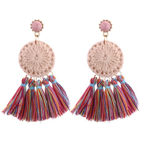 Korean fashion personality knit round cake fringed tassel earrings (color) NHNPS3855's discount tags