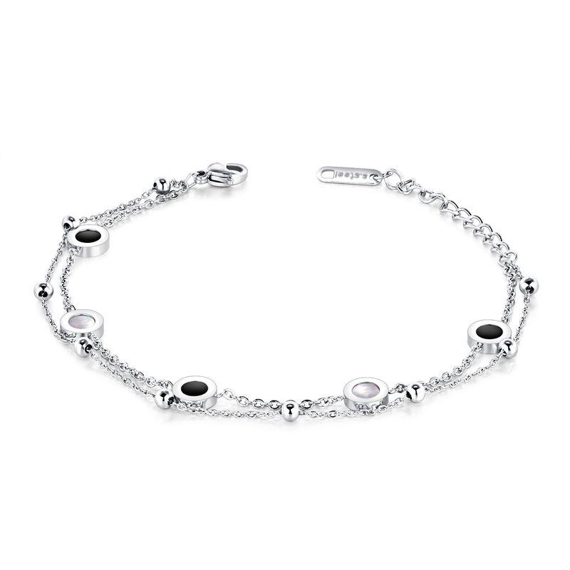 TitaniumStainless Steel Korea Geometric bracelet  Steel models NHOP2321Steel models