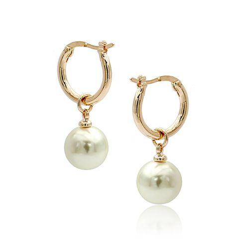 Alloy Korea Geometric earring  Rose alloy white beads NHLJ3687Rose alloy white beads