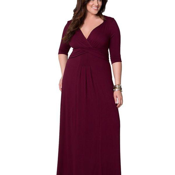 Polyester Fashion  dress  (Wine Red - L) NHDF0276-Wine Red - L