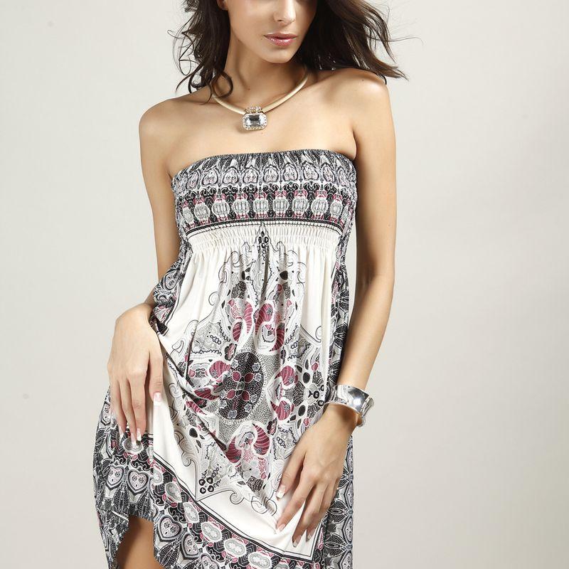 Polyester Fashion  dress  (White-M) NHDF0402-White-M