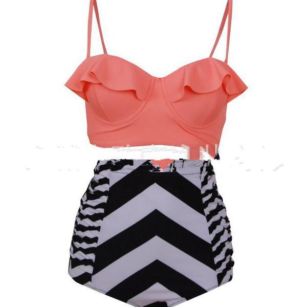 Polyester Fashion  Bikini  (High waist watermelon red -S) NHXJ0116-High waist watermelon red -S