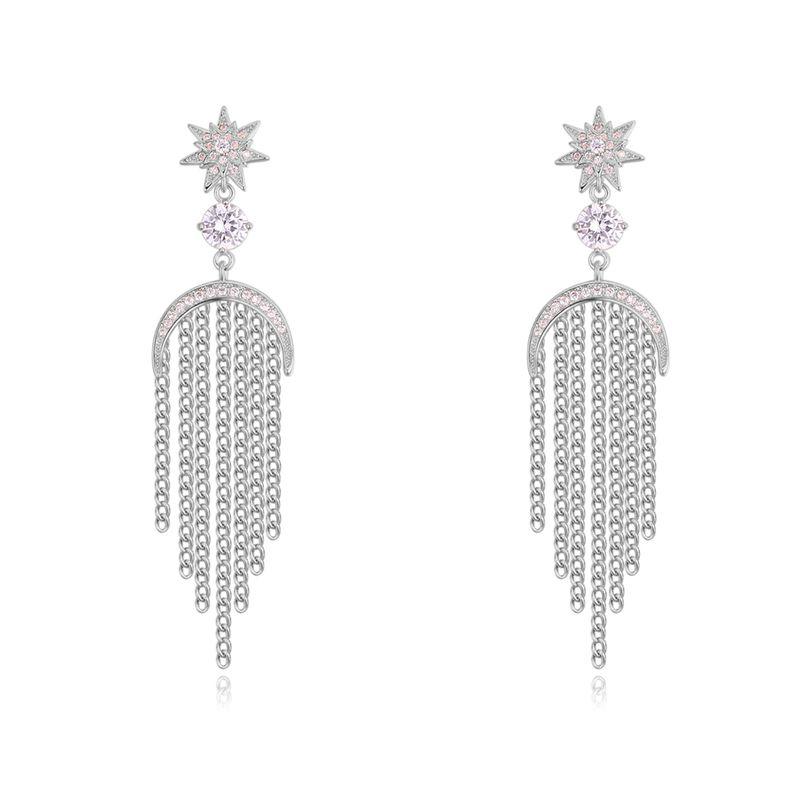 S925 alloy needle AAA microinlaid zircon earringsStar Moon tassel Platinum NHNPS3897