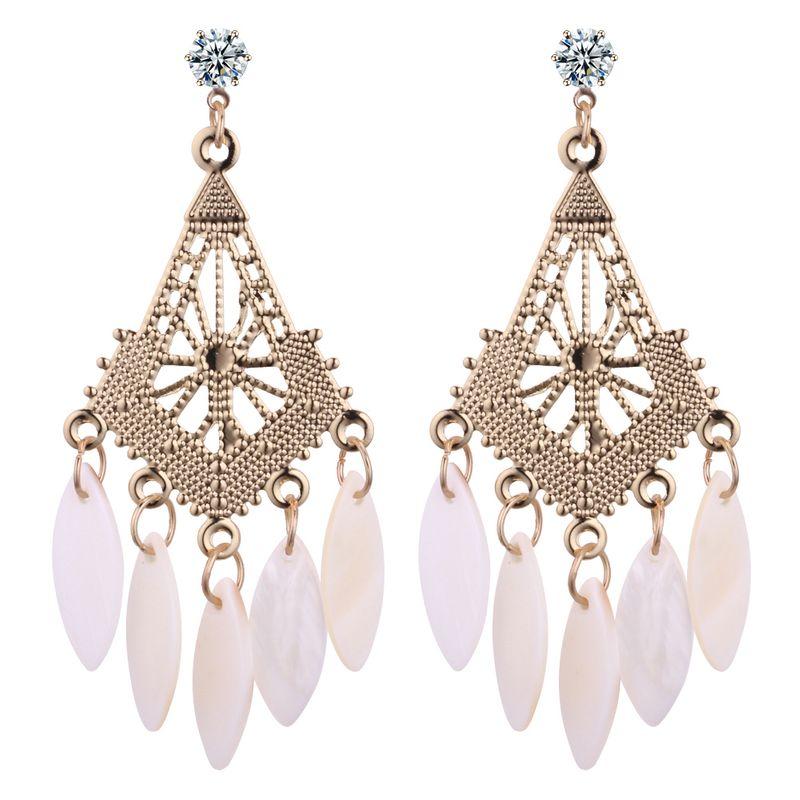 European and American fashion fan-shaped tassel zircon earrings NHNPS3911