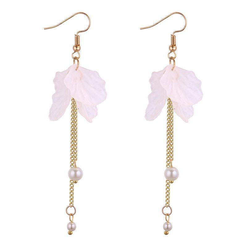Korean fashion temperament fringe long earrings (white) NHNPS3926