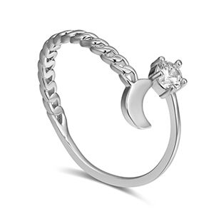 AAA micro-inlaid zircon ring - wind clear moon (Platinum) NHKSE28245's discount tags