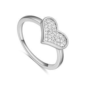 AAA microinlaid zircon ring  Simple Love Platinum NHKSE28233