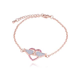 AAA micro inlaid zircon bracelet  Love Wings Rose Alloy NHKSE28225