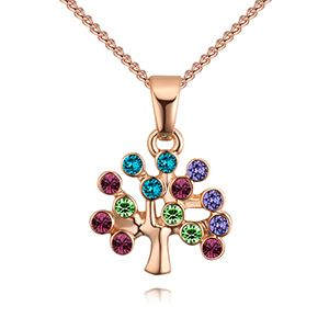 Imported imitated crystal necklace - lucky tree (rose alloy + color) NHKSE28122