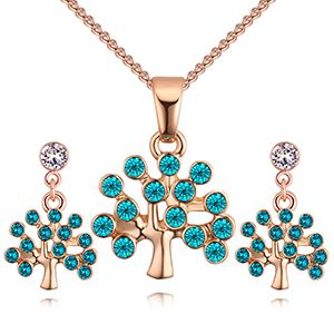 Import Imitated crystal Set - Lucky Tree (Rose Alloy + Blue) NHKSE28130