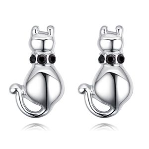 Imported imitated crystal ear studs  Meng microphone black NHKSE28074