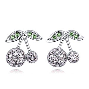 Imported imitated crystal ear studs  fine cherry white NHKSE28048