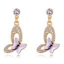 Austrian Imitated crystal Stud Earrings  Dream Memories Flying Purple NHKSE27951