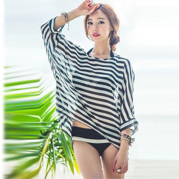 Polyester Fashion  Bikini  (Black and white stripes) NHXW0004-Black and white stripes
