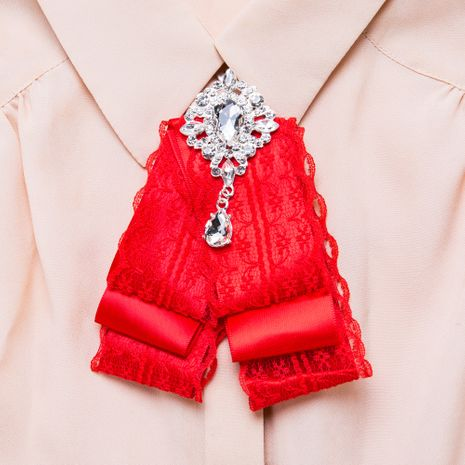 Fashion Alloy Rhinestone brooch Bows (red)  NHJE1091-red's discount tags