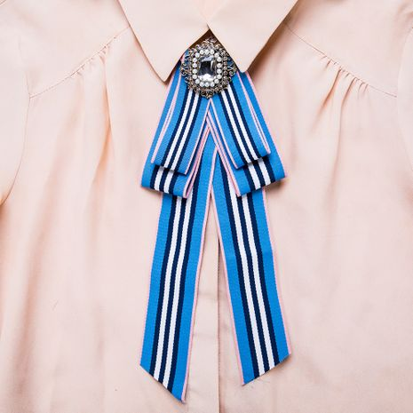Fashion Alloy Rhinestone brooch Bows (Blue and white)  NHJE1109-Blue and white's discount tags