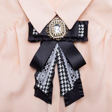 Fashion Alloy Rhinestone brooch Bows (black)  NHJE1124-black's discount tags