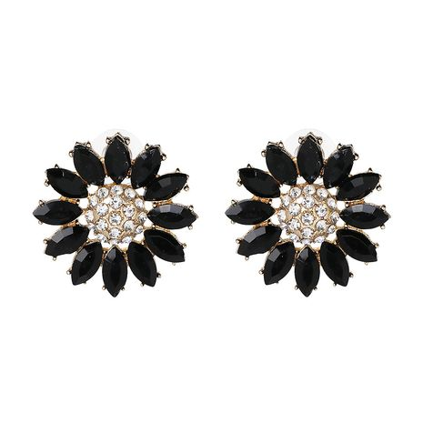 Imitated crystal&CZ Fashion Flowers earring  (black) NHJJ4607-black's discount tags