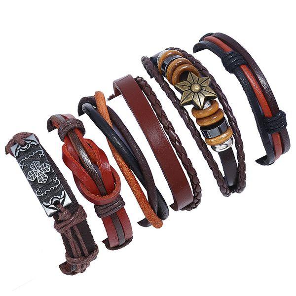 Leather Fashion Geometric bracelet  (Six sets) NHPK2011-Six sets