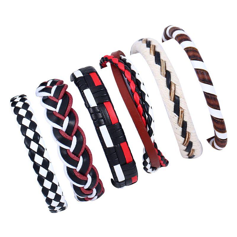 Leather Fashion Geometric bracelet  (Six sets) NHPK2014-Six sets