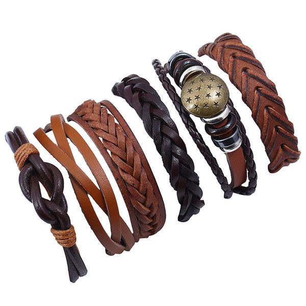 Leather Fashion Geometric bracelet  (Six sets) NHPK2018-Six sets