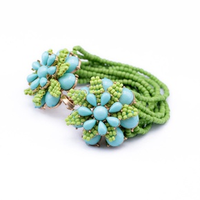 Alloy Fashion Flowers bracelet  (green) NHQD4684-green