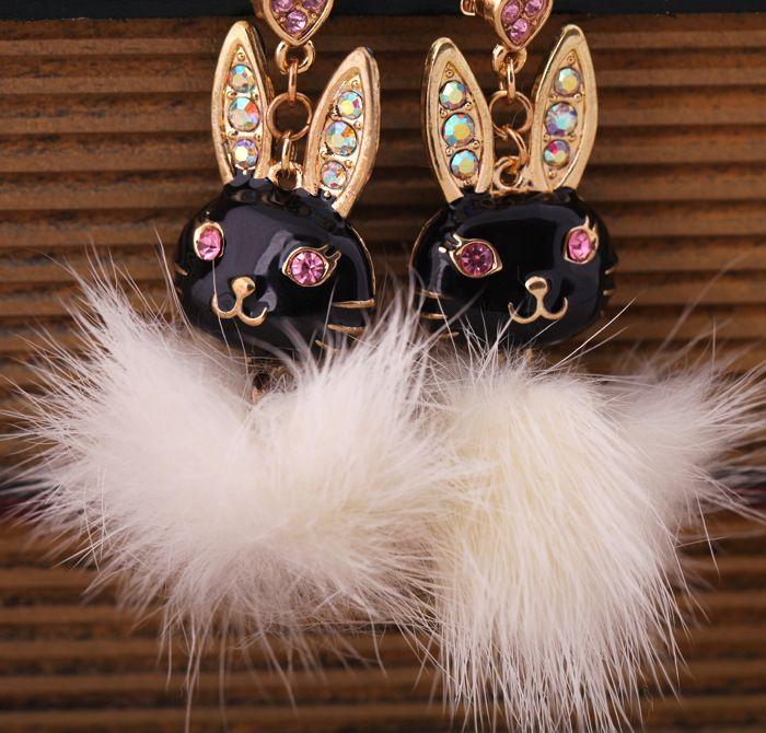 Boucle d39oreille Animal Fashion en alliage noir NHQD4861noir