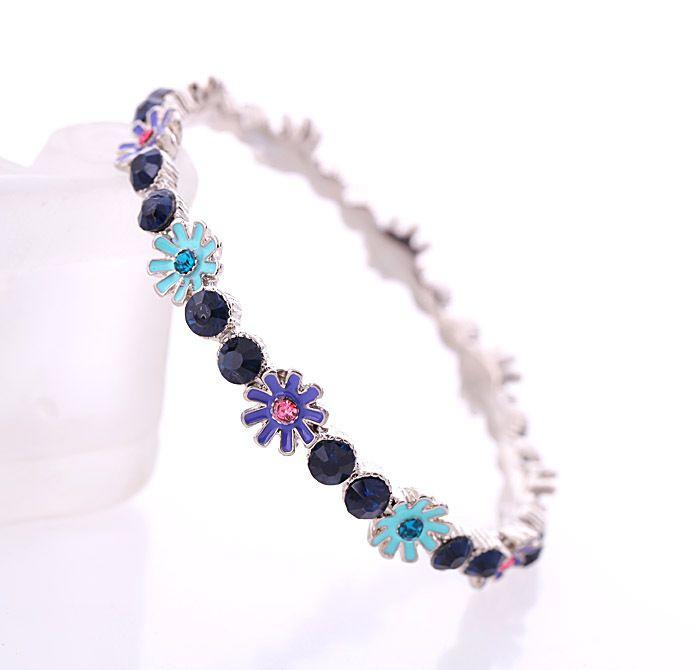 Alloy Simple Flowers bracelet  purple NHQD4887purple