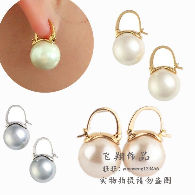 Copper Simple  earring  white NHOM0331white