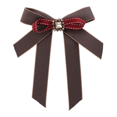 Europe and the United States simple retro handmade bow rhinestone brooch (gray) NHNPS4017's discount tags