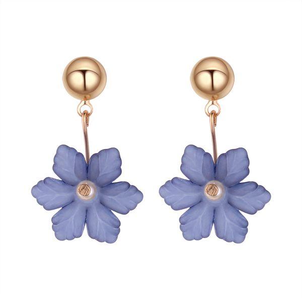 Korean style simple temperament flower earrings (dark blue) NHNPS4056