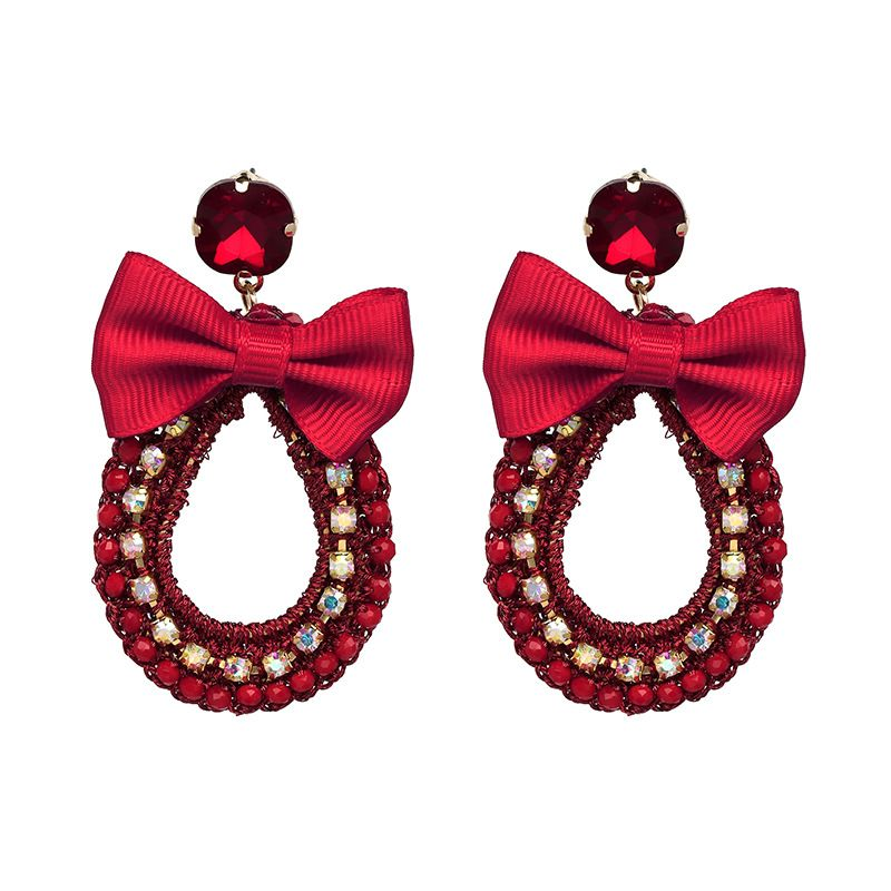 Plastic Korea Geometric earring  (red) NHJJ4749-red