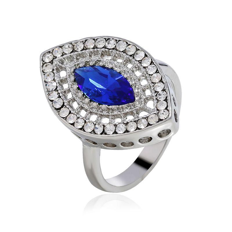 Alloy Fashion Geometric Ring  (White K Royal Blue - 17) NHKQ1615-White-K-Royal-Blue-17