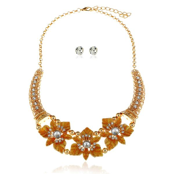 Alloy Fashion Flowers necklace  (yellow) NHVA4850-yellow